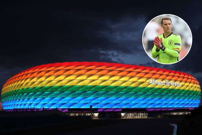 Allianz Arena Illuminated In Rainbow Colours For Christopher Street Day